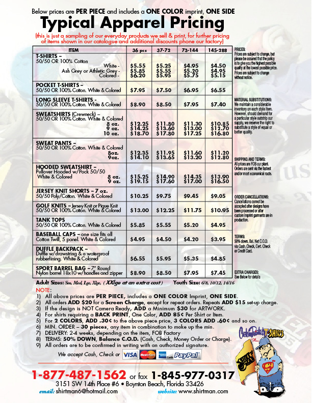 Typical Pricing For Custom Printed Or Embroidered Tshirts